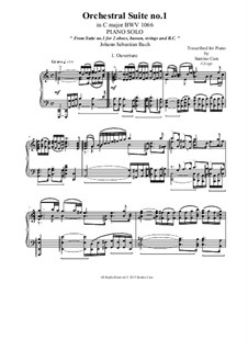 Orchestersuite Nr.1 in C-Dur, BWV 1066: Ouverture, for piano solo by Johann Sebastian Bach