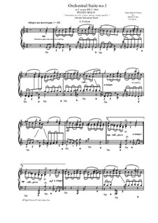 Orchestersuite Nr.1 in C-Dur, BWV 1066: Forlane, for piano solo by Johann Sebastian Bach