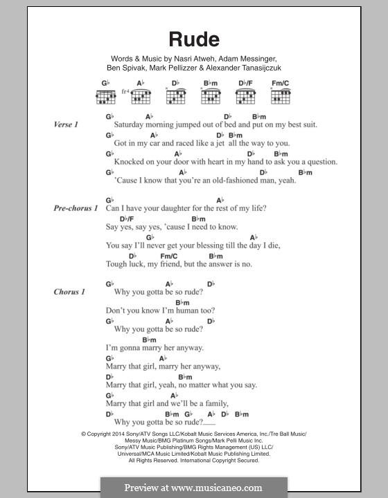 Rude (MAGIC!): Text und Akkorde by Adam Messinger, Nasri Atweh, Mark Pellizzer, Alex Tanas, Ben Spivak