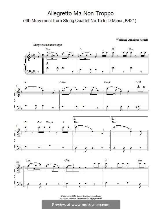 Streichquartett Nr.15 in d-Moll, K.421/K.417b: Allegretto Ma Non Troppo, for piano by Wolfgang Amadeus Mozart