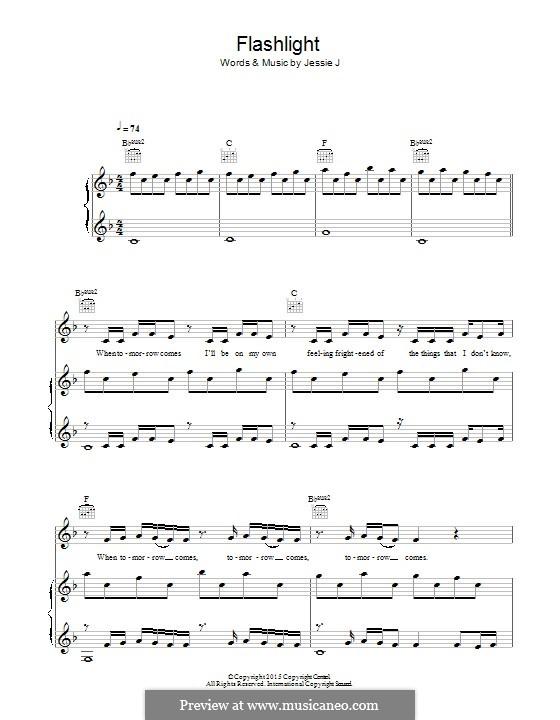 Flashlight (from Pitch Perfect 2): Für Stimme und Klavier (oder Gitarre) by Jessica Cornish