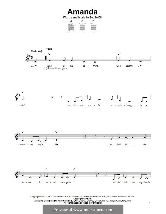 Amanda (Waylon Jennings): Für Gitarre mit Tabulatur by Bob McDill