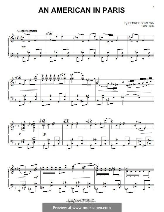 Ein Amerikaner in Paris: Für Klavier by George Gershwin