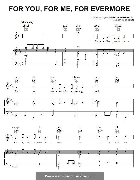 For You, for Me for Evermore: Für Stimme und Klavier (oder Gitarre) by George Gershwin