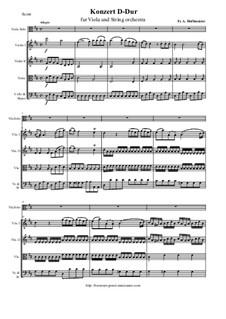 Konzert für Viola und String orchestra in D-Dur: Partitur, Stimmen by Franz Anton Hoffmeister