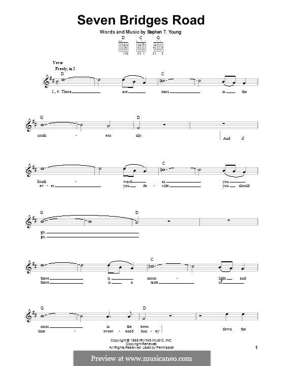 Seven Bridges Road (The Eagles): Für Gitarre mit Tabulatur by Stephen T. Young