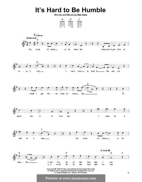 It's Hard To Be Humble: Für Gitarre mit Tabulatur by Mac Davis