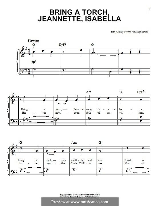 Bring a Torch, Jeannette Isabella: Für Klavier by folklore