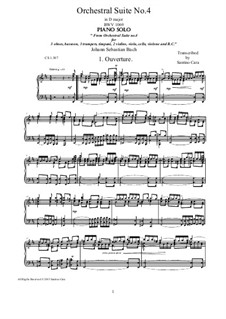 Orchestersuite Nr.4 in D-Dur, BWV 1069: Ouverture, for piano by Johann Sebastian Bach