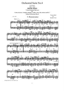Orchestersuite Nr.4 in D-Dur, BWV 1069: Réjouissance, for piano by Johann Sebastian Bach