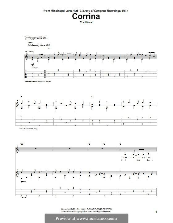 Corrina: Für Gitarre mit Tabulatur by folklore