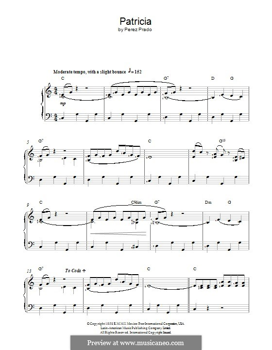 Patricia: Für Stimme und Klavier (oder Gitarre) by Dámaso Pérez Prado