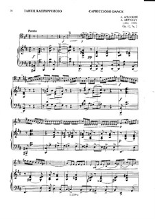 Zwei Stücke für Cello und Klavier, Op.12: No.2 Capriccioso Dance – score, solo part by Anton Arenski