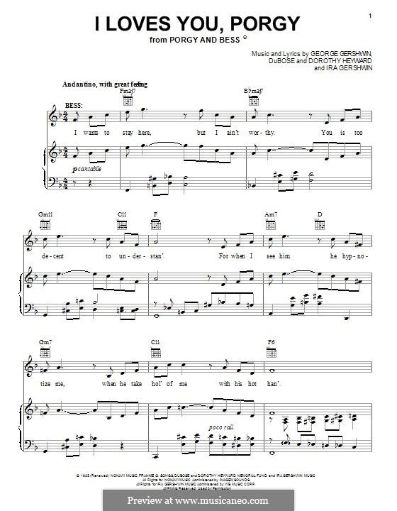 I Loves You, Porgy: Für Stimme und Klavier (oder Gitarre) by George Gershwin