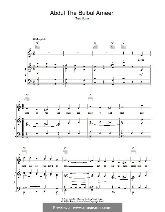 Abdul the Bulbul Ameer: Für Stimme und Klavier (oder Gitarre) by folklore