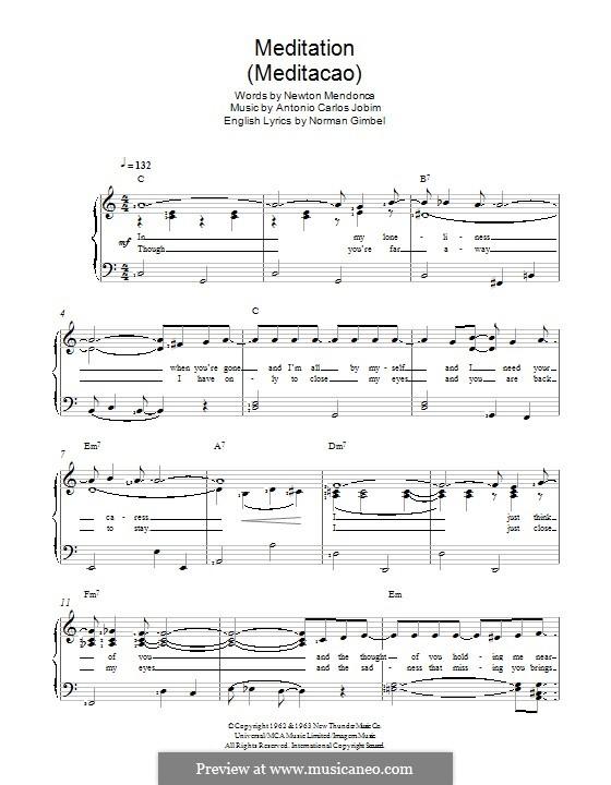 Meditation: Für Stimme und Klavier by Antonio Carlos Jobim