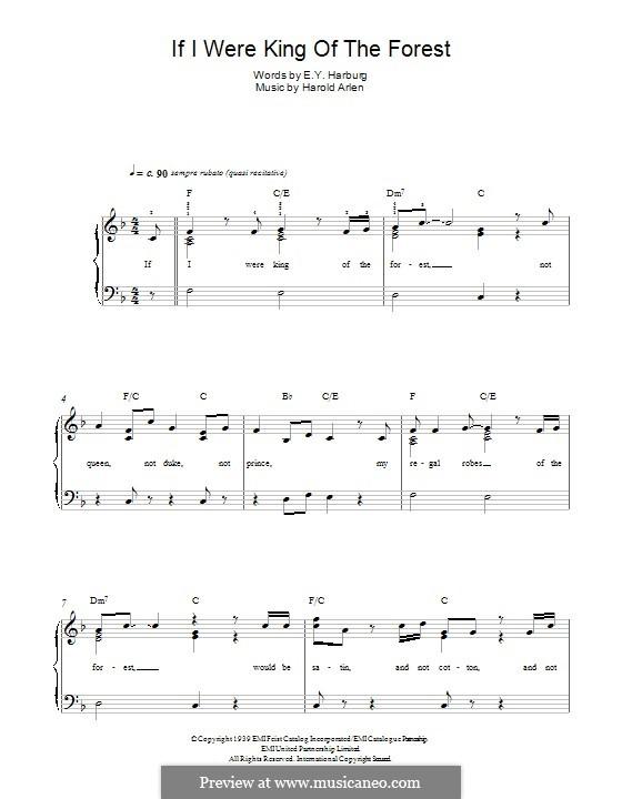 If I Were King of the Forest: Für Klavier by Harold Arlen
