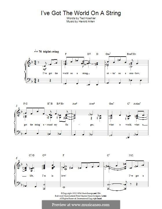I've Got the World on a String: Für Stimme und Klavier by Harold Arlen