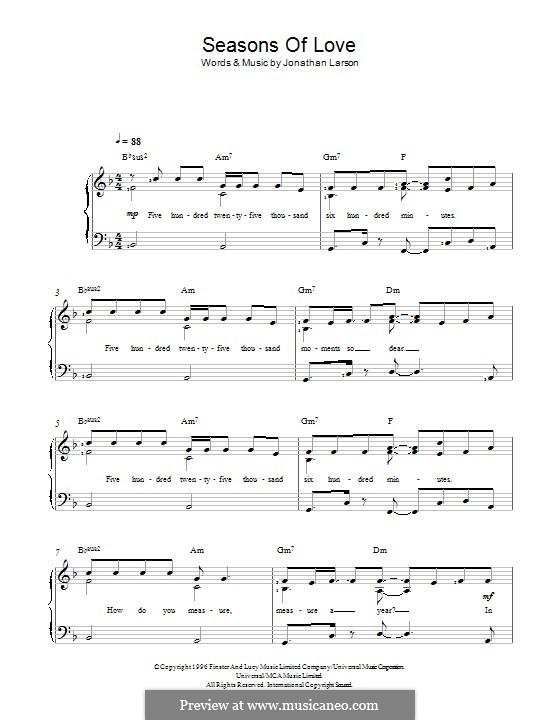 Seasons of Love (from Rent): Für Stimme und Klavier by Jonathan Larson