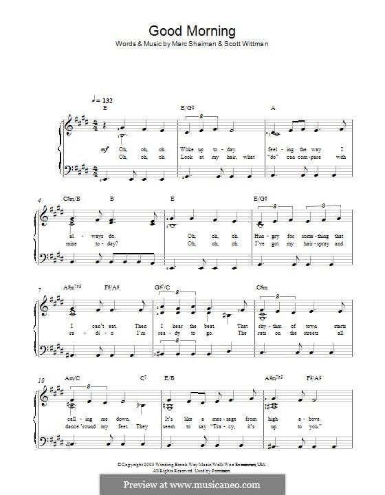 Good Morning Baltimore (from Hairspray): Für Stimme und Klavier by Marc Shaiman
