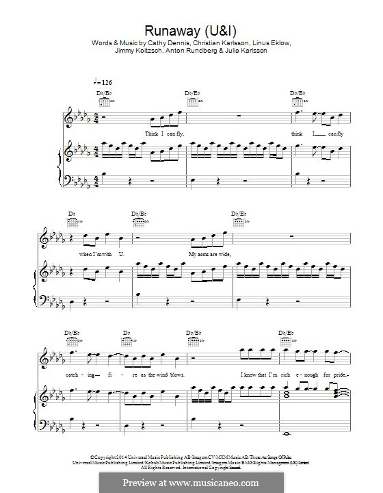 Runaway (U & I): Für Stimme und Klavier (oder Gitarre) by Cathy Dennis, Christian Karlsson, Linus Eklow, Jimmy Koitzsch, Julia Karlsson, Anton Rundberg