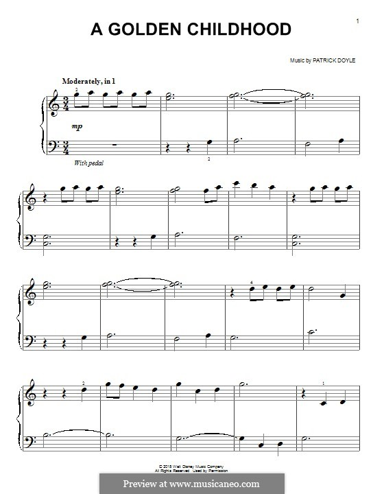 A Golden Childhood: Für Klavier by Patrick Doyle