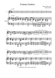 Country Gardens: Score for two performers (in F) by folklore
