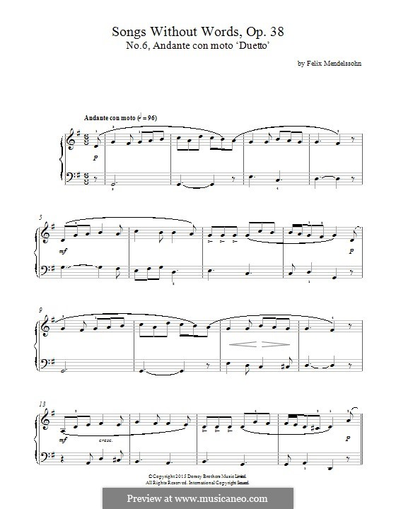 Lieder ohne Worte, Op.38: No.6 Andante con moto by Felix Mendelssohn-Bartholdy