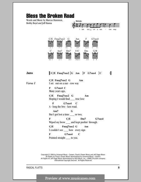 Bless the Broken Road (Rascal Flatts): Text und Akkorde by Bobby Boyd, Jeffrey Hanna, Marcus Hummon