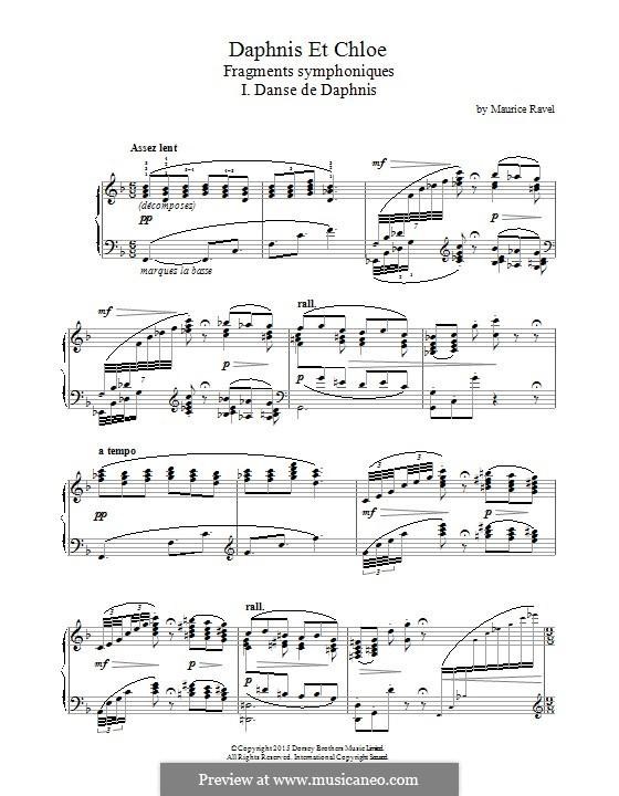 Daphnis und Chloe, M.57: I. Danse de Daphnis (fragment), for piano by Maurice Ravel