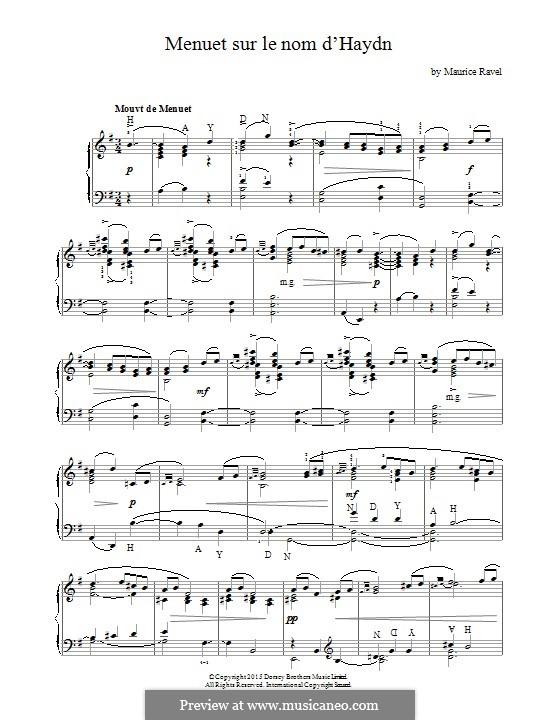 Menuet sur le nom d'Haydn, M.58: Für Klavier by Maurice Ravel