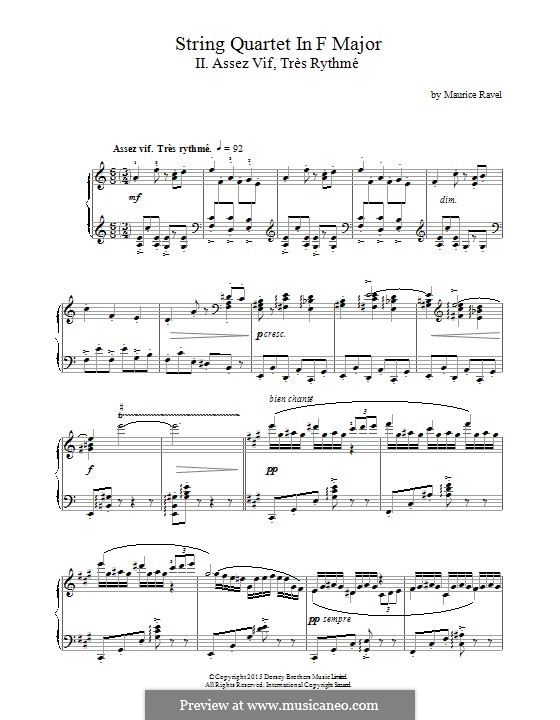 Streichquartett in F-Dur, M.35: Movement II Assez Vif, Très Rythmé, for piano by Maurice Ravel
