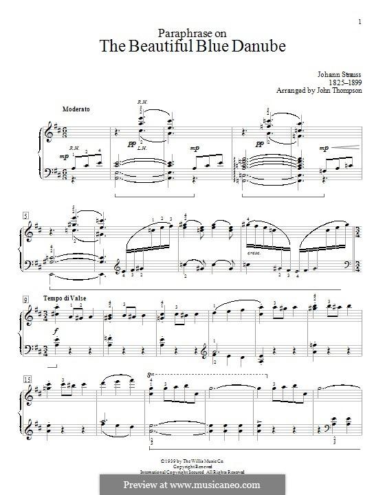 An der schönen blauen Donau, für Klavier, Op.314: Paraphrase by Johann Strauss (Sohn)
