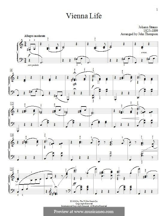 Vienna Life, Op.354: Für Klavier by Johann Strauss (Sohn)