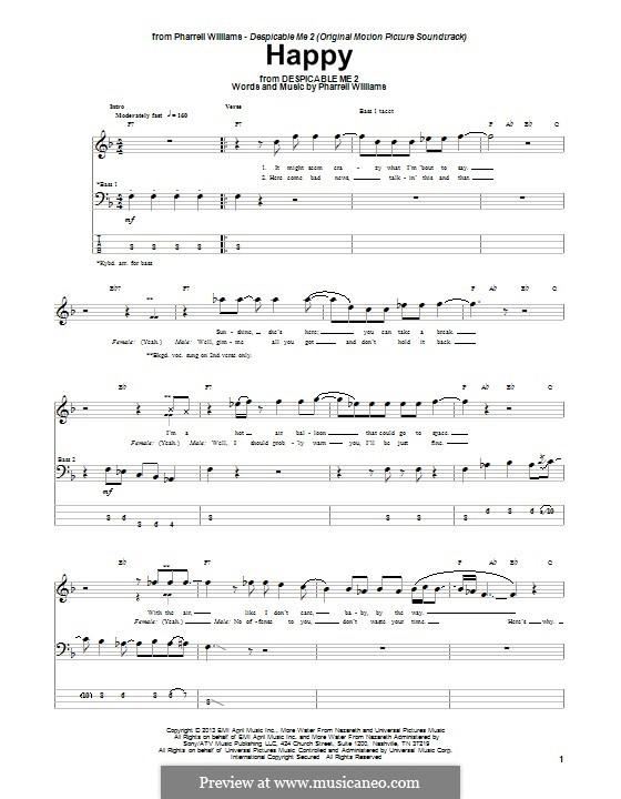 Happy (from Despicable Me 2): Für Bassgitarre mit Tabulatur by Pharrell Williams