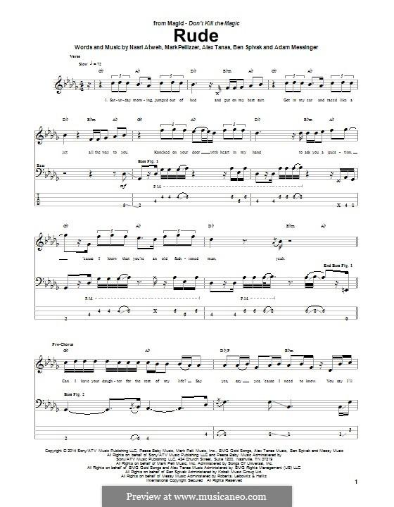 Rude (MAGIC!): Für Bassgitarre mit Tabulatur by Adam Messinger, Nasri Atweh, Mark Pellizzer, Alex Tanas, Ben Spivak