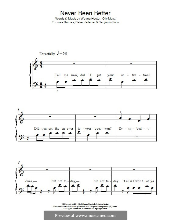 Never Been Better: Für Klavier by Benjamin Kohn, Olly Murs, Peter Kelleher, Thomas Barnes, Wayne Anthony Hector