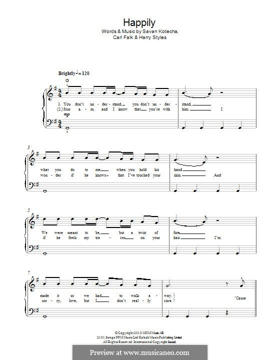 Happily (One Direction): Für Klavier by Carl Falk, Savan Kotecha, Harry Styles