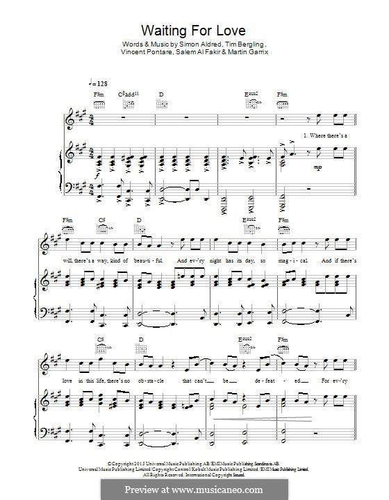 Waiting for Love: Für Stimme und Klavier (oder Gitarre) by Simon Aldred, Avicii, Vincent Pontare, Salem Al Fakir, Martin Garrix
