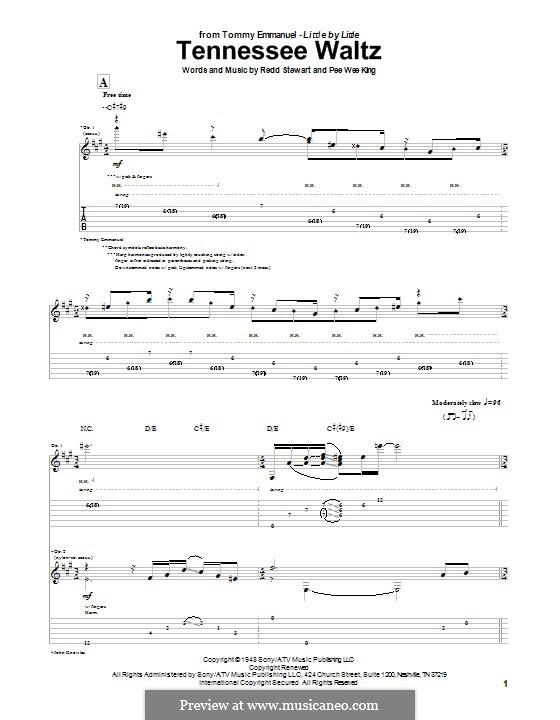 Tennessee Waltz (Patty Page): Für Gitarre mit Tabulatur by Pee Wee King, Redd Stewart