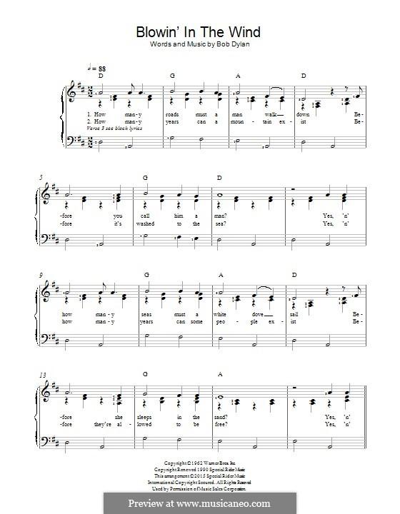 Blowin' in the Wind: Für Stimme und Klavier by Bob Dylan