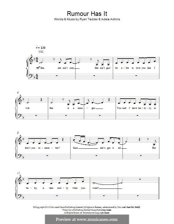 Rumour Has It: Für Stimme und Klavier by Adele, Ryan B Tedder