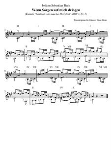 Ach Gott, wie manches Herzeleid, BWV 3: Nr.5 Wenn Sorgen auf mich dringen, für Gitarre by Johann Sebastian Bach