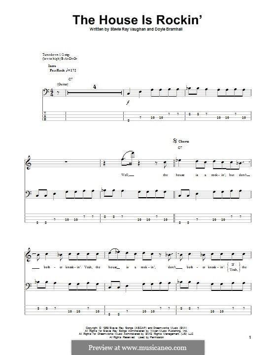 The House Is Rockin' (Stevie Ray Vaughan): Für Bassgitarre mit Tabulatur by Doyle Bramhall