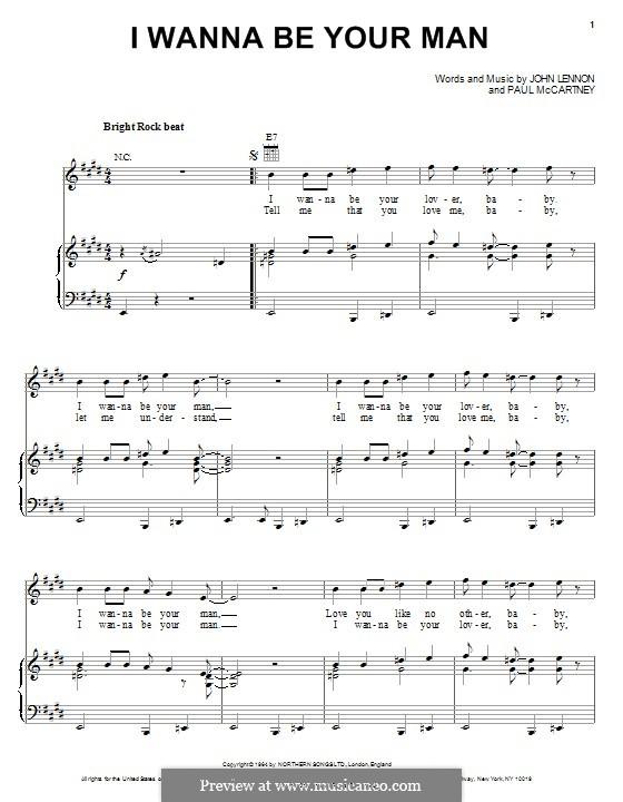 I Wanna Be Your Man (The Beatles): Für Stimme und Klavier (oder Gitarre) by John Lennon, Paul McCartney