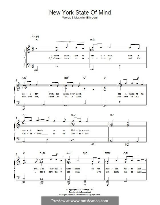New York State of Mind: Für Stimme und Klavier by Billy Joel