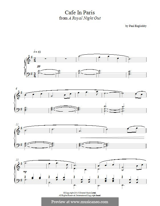 Café in Paris (from 'A Royal Night Out'): Für Klavier by Paul Englishby