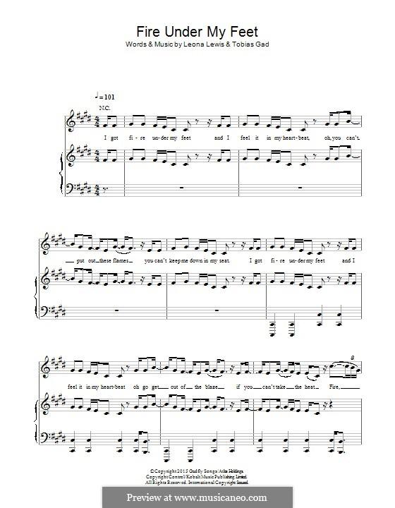 Fire Under My Feet: Für Stimme und Klavier (oder Gitarre) by Leona Lewis, Tobias Gad