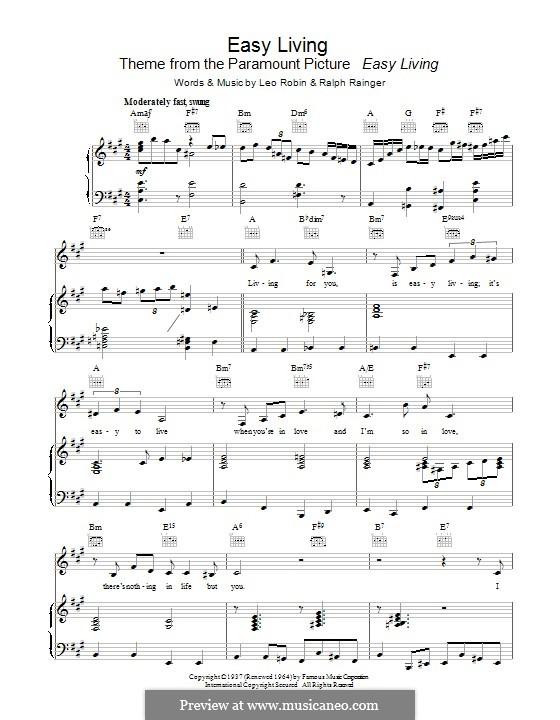 Easy Living (Billie Holiday): Für Stimme und Klavier (oder Gitarre) by Leo Robin, Ralph Rainger