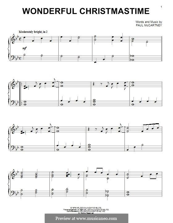 Wonderful Christmastime: Für Klavier by Paul McCartney